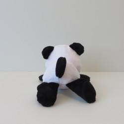Peluche panda noire et blanche, vue de dos