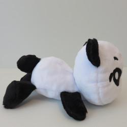 Peluche panda noire et blanche, vue de profil